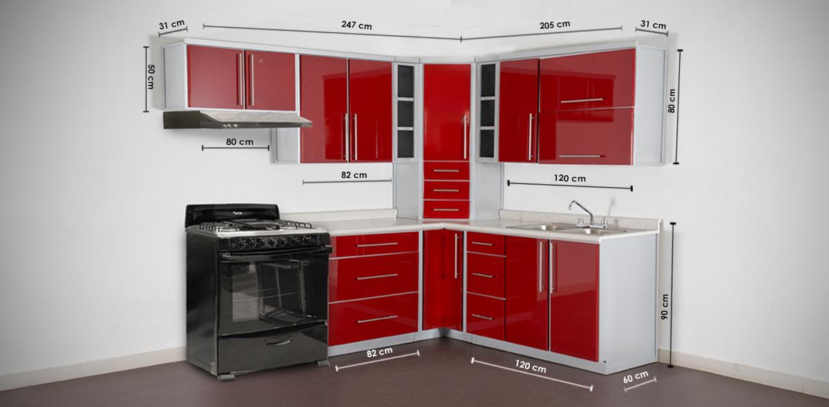 Cocinas integrales rojo con blanco cocina integral color for Cocinas integrales df